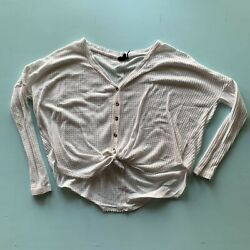 Out From Under Women#x27;s LS Cropped Button Up Waffle Tie Bottom Cardigan White XS $15.00