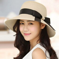USA Women Floppy Sun Beach Straw Hats Wide Brim Packable Summer Cap $8.36