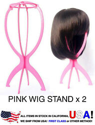 2 of Pink Plastic Light Wig Hair Holders Stand Folding Hat Cap Durable Display $9.99