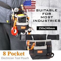 Multifunctional Tool Bag Electrician Waist Pack 8 Pocket Belt Pouch Holder Hot $12.82