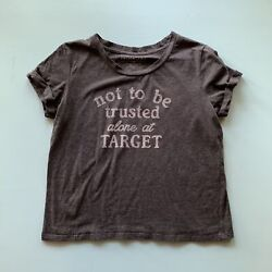 Fifth Sun Women#x27;s Not To Be Trusted at Target T Shirt Grey Large $8.40