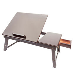 Durable Laptop Desk Folding Lap Dinner Tray Bed Adjustable Table Stand Bamboo US $29.99