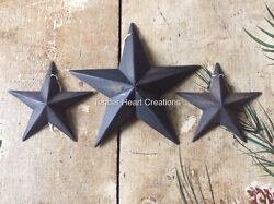 Set of 3 DISTRESSED BLACK BARN STARS 5.5quot; 3.5quot; PRIMITIVE RUSTIC COUNTRY $9.49