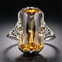 Women#x27;s Antique Vintage Style Ring Yellow Citrine Gemstone 925 Sterling Silver $20.00
