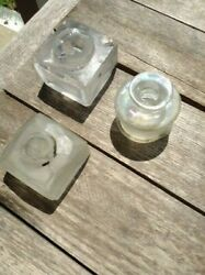 3 travelling desk top inkwells 2 square 1 round. Clear colors. C1870 $20.00