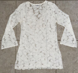 Authentic Beach Bunny Swimwear White Lace Cover Up Short Bell Sleeve Dress Large $59.95