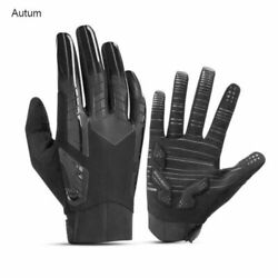 ROCKBROS Bicycle Gloves Full Finger Cycling Mitts Autumn Non slip Gloves Black $13.99