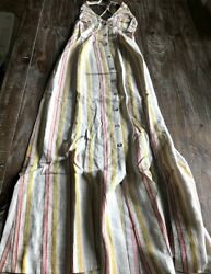 ASOS Pastel Striped Long Maternity Dress w V Neck and Buttons Womens Size 6 NEW $29.99