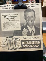 """11 X 12"""" Print Ad Stan Musial Chesterfield St. Louis Cardinals 1954"""