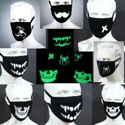 Black Face Fashion Mask Glows in the Dark Washable Reusable Unisex Adult Mask $7.95