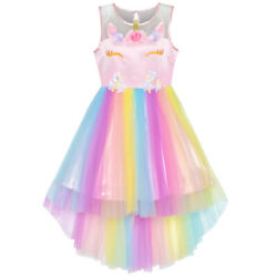 US STOCK Flower Girls Dress Unicorn Rainbow Pageant Princess Party Size 4 10 $19.95