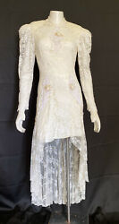 VTG 80s Lace Wedfing Dress Mini With Train Floral +Sequin Applique Long Sleeve S $54.40