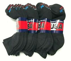 3 6 12 Pairs HANES X-TEMP Men Black Stretch Athletic Work Ankle Sock Size10-13 $7.99