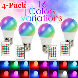 [4-Pack] Color Changing Light RGB LED Bulbs Dimmable Party Lights Remote Control $13.65