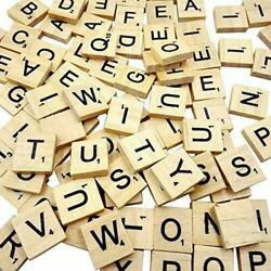 SCRABBLE WOOD TILES 100Pieces Full Sets Letters Wooden Replacement Pick $7.99