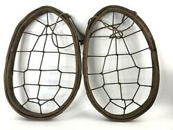 VTG Antique? Old Wooden Snow Shoes Bear Paw? 16.5quot; x 10.5quot; No Bindings Footpads $67.50