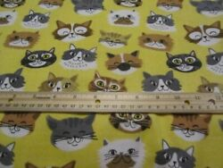 2 Yards Yellow With Multicolored Cat Faces Flannel Fabric $16.99