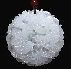 Natural White Jade Dragon phoenix Pendant Necklace Charm Jewelry Lucky Amulet $2.49