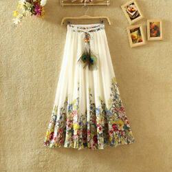 US Women Floral Bohemia Chiffon Maxi Long Skirt Elastic Waist Summer Beach Dress $16.99