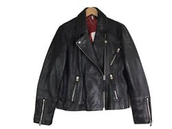 Topshop Black Dolly Biker Leather Jacket Size 12 NWT