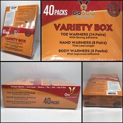 GoGold Toe Hand & Body Warmers Variety 40 Pack Odorless Thin Adhesive Heat $42.70