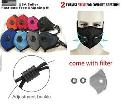 Black Face Mask with Reusable Carbon Filter Exhaust Valves and SHIP FROM USA $9.95