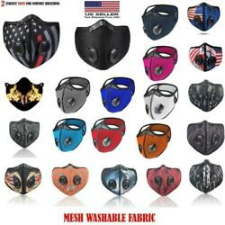 NEW style Cycling Face Mask With Active Carbon Filter Breathing Valves Reusable  $11.88