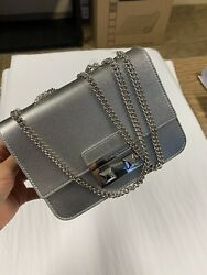 FURLA METROPOLIS MINI CROSSBODY SILVER COLOR FOR WOMEN WITH DUSTY BAG $120.00