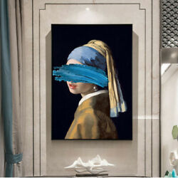 Framed Girls with A Pearl Earring Poster Wall Art Canvas Painting Home Decor $22.99
