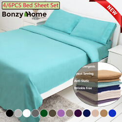 46 Piece Bed Sheet Set Deep Pocket Sheets Queen King Full Size Bed Fitted Sheet $21.99