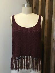 Burgundy Crochet Top with Fringe Small C $24.99