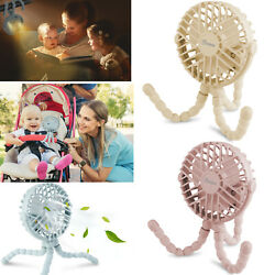 3 Speeds Portable USB Rechargeable Mini Cooling Fan Clip On Desk Baby Stroller $12.59