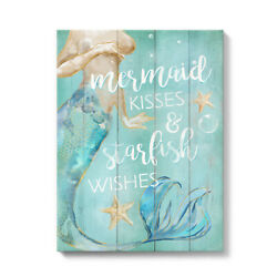 Inspirational Wall Decor Canvas Painting Mermaid Kisses Starfish Wishes 12x16in $22.99