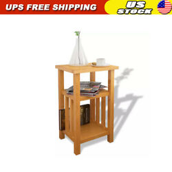 Chair Side Table Narrow End Table with Magazine Shelf Chairside Table Solid Oak $65.95
