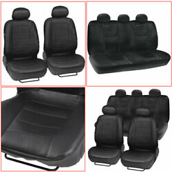 9× Car Faux Leather Seat Covers Protectors Universal Front Rear Cushions Set US $48.98