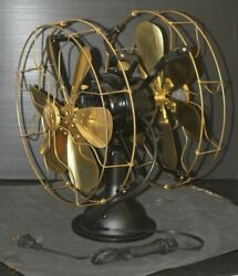FAN ELECTRIC TABLE VINTAGE FANS BLADE METAL BRASS OSCILLATING DOUBLE SIDED $840.00