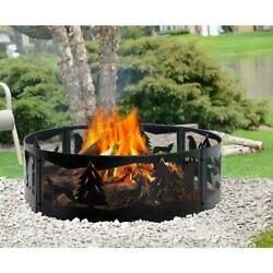 Fire Pit Ring Steel Wilderness Design 36 in. x 12 in. Outdoor Camping Backyard
