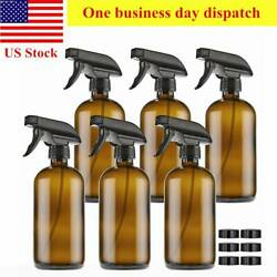 6 Pack Amber Glass Spray Bottles 16oz Brown With Trigger Sprayers And Caps $23.15