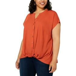 INC International Concepts Women's Plus Size Twist-Front Top Burnt Orange