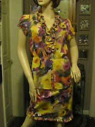 Sunny Leigh 2 Pcs. Yellow Floral Dress (Size S Blouse & Size 4 Skirt)  $19.99