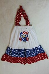 Boutique Girls Dress Size 150 7-8 Red Blue White Owl Sundress Beach Cover Up  $17.59