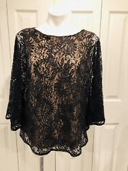 Women's Black Sequin Sheer Illusion Lace Top