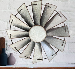 Galvanized Windmill Circle Country Rustic Wall Decor $55.16