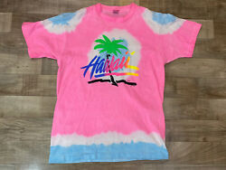 Vintage Hawaii All Over Print Beach Tie Dye T-Shirt L Made In USA Single Stitch $29.99