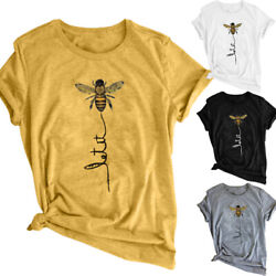 US Summer Women Letter Print Tops Let It Bee Casual Graphic Tee Fashion T-shirt $9.99