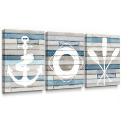 Blue Nautical Canvas Wall Art for Rustic Bedroom Bathroom Decor 12x16in 3pc $39.55
