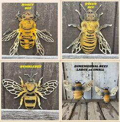 BUMBLEBEE HONEY BEE QUEEN BEE Dimensional Bee Wall Decor Rustic BEE $22.95