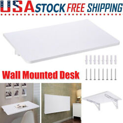 Wall Mounted Floating Folding Computer Desk Home Dining Wooden Drop Leaf Table $52.59