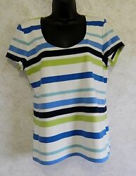 Chaps Woman's Pull Over Knit Stripe Top Size Large Striped NWT Blue Green Black $18.95