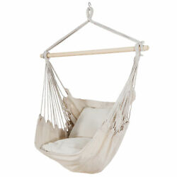 Beige Hammock Chair Swing Hanging Rope Net Chair Porch Patio with 2 Cushions $29.99